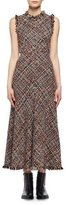 Alexander McQueen Wishing Tree Tweed Sleeveless Midi Dress, Black Pattern