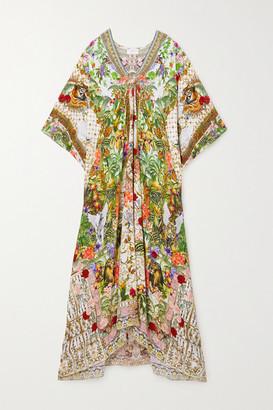 Camilla Crystal-embellished Cutout Printed Silk Crepe De Chine Kaftan