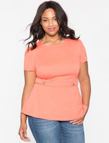 ELOQUII Plus Size Button Detail Peplum Top