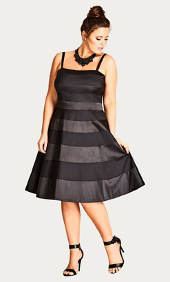 City Chic Miss Shady Fit & Flare Dress - black