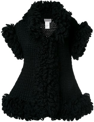 Knitted Sleeveless Ruffle Jacket