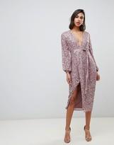 Asos Design DESIGN midi dress in allover scatter sequin with ribbon tie waist