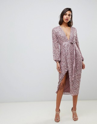 Asos Design DESIGN midi dress in allover scatter sequin with ribbon tie waist-Pink