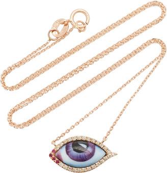 Lito 14K Rose Gold & Enamel Eye Necklace