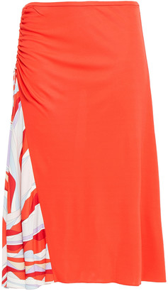 Emilio Pucci Ruched Printed Stretch-jersey Skirt