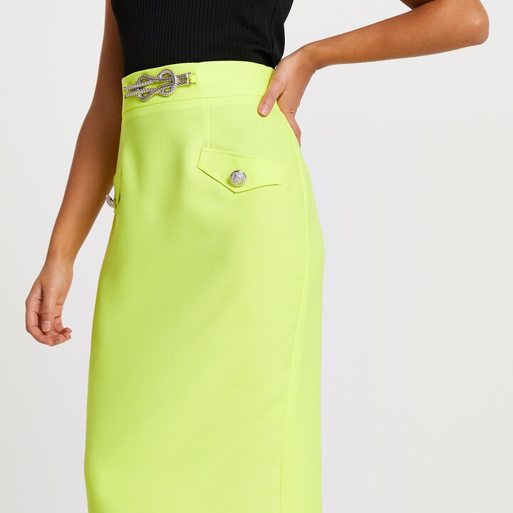 Thumbnail for your product : River Island Womens Yellow rope detail pencil skirt