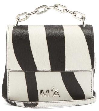 Marques Almeida Logo-plaque Mini Zebra-print Calf-hair Handbag - Black White