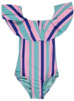 Forever 21 Girls Striped One-Piece Swimsuit (Kids)
