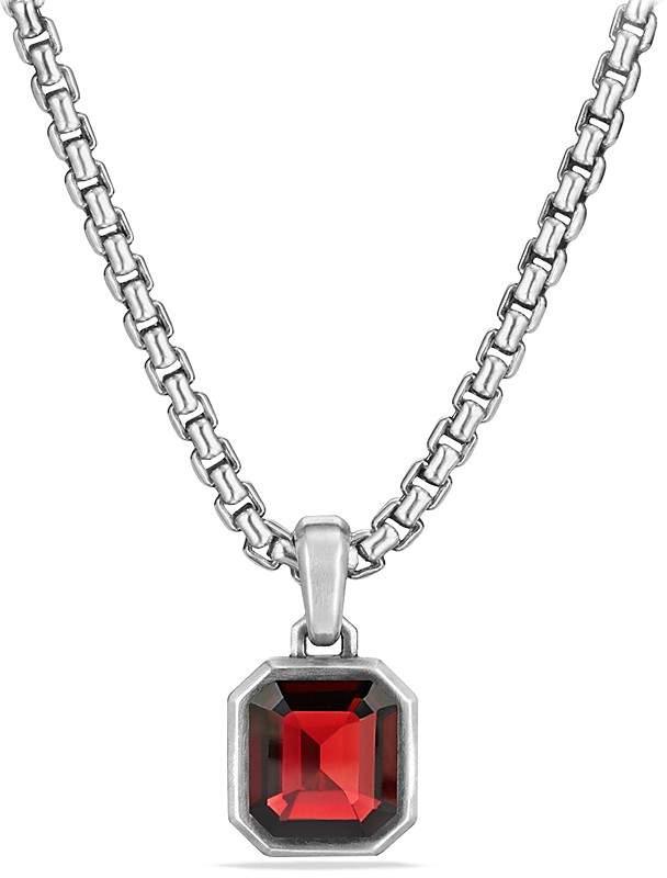 David Yurman Petrvs Emerald Cut Amulet with Garnet