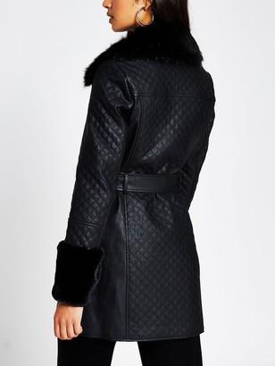 River Island Faux Fur Cuff Quilted PU Coat - Black