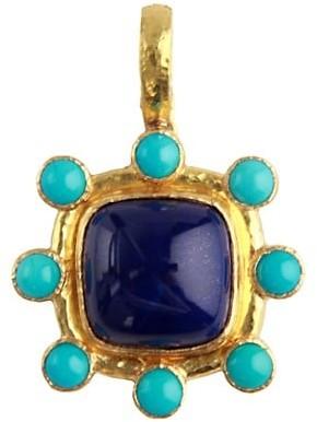 Elizabeth Locke Stone 19K Yellow Gold, Lapis & Sleeping Beauty Turquoise Medium Pendant