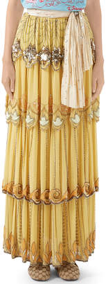 Gucci Crystal-Embroidered Pleated Layered Maxi Skirt