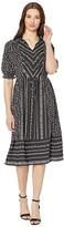 CeCe Ruffle Sleeve V-Neck Print Mix Dress (Rich Black) Women's Dress