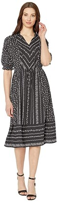 CeCe Ruffle Sleeve V-Neck Print Mix Dress (Rich Black) Women's Dress