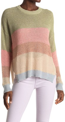 ALL IN FAVOR Striped Dolman Sleeve Tunic Sweater