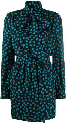 Saint Laurent double polka dot V-neck dress
