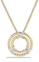 David Yurman X Circle Pendant Necklace with Diamonds in 18K Yellow Gold