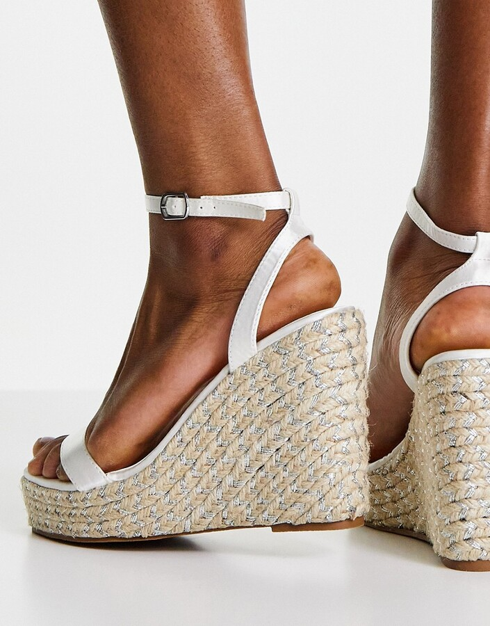 Thumbnail for your product : Be Mine Bridal Azila espadrille wedges in ivory satin