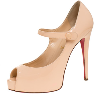 Christian Louboutin Beige Patent Alta Iowa Peep Toe Mary Jane Pumps Size 39