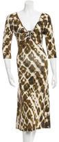 Just Cavalli Three-Quarter Sleeve Printed Dress