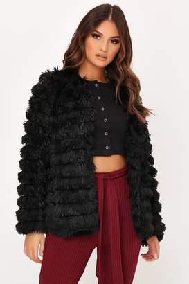 I SAW IT FIRST Black Faux Fur Fringed Jacket