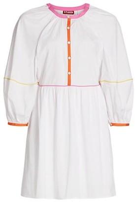 STAUD Demi Colorblock-Trimmed Mini Dress