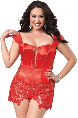 Dreamgirl Women's Plus-Size Embellished Lace and Satin Bustier