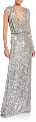 Monique Lhuillier Sequined Deep-V Column Gown