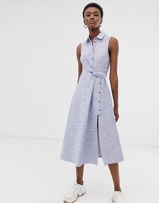 Asos textured cotton sleeveless shirt midi dress-Blue
