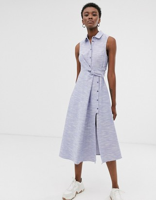 Asos textured cotton sleeveless shirt midi dress