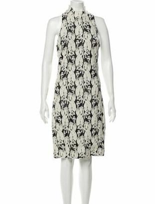 Cushnie Floral Print Knee-Length Dress White