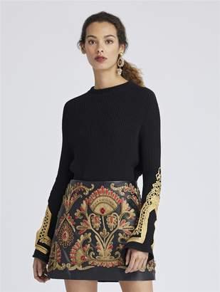 Oscar de la Renta Embroidered Merino Wool Pullover