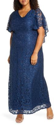 Kiyonna Celestial Cape Sleeve Lace Gown