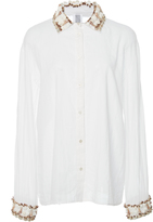 Rosie Assoulin Sea Shell Trim Button Down Shirt