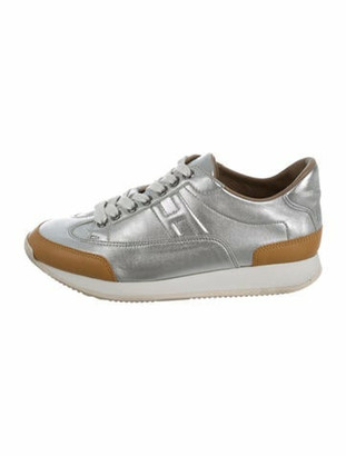 Hermes Quicker Leather Sneakers Silver