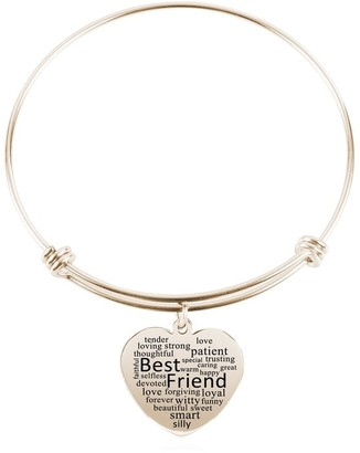 Heart Charm Bangle by Pink Box Best Friend Gold