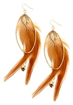 Gold Oval Brown Feather Earring