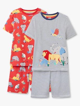 John Lewis & Partners Boys' Safari Print Short Pyjamas, Pack of 2, Blue/Red