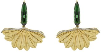 Silvia Furmanovich 18kt Yellow Gold Carved Leaf Earrings