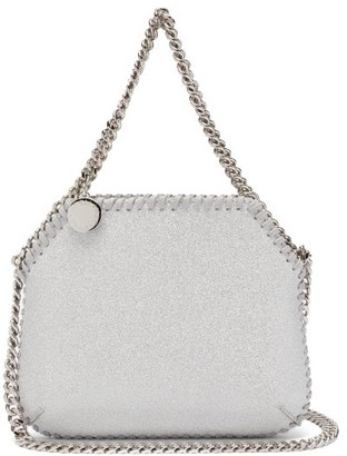 Stella McCartney New Falabella Mini Glitter Faux-suede Bag - Silver