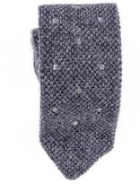 Black Grey Polka Dot Knitted Cashmere Tie