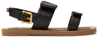 Thom Browne Black Brogued Bow Two-Strap Sandals