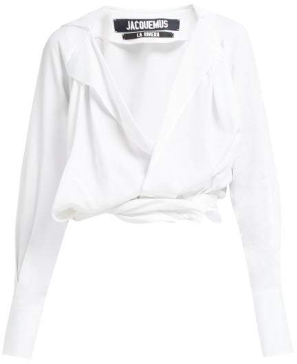 Jacquemus Figari Plunge Knot Front Top - Womens - White