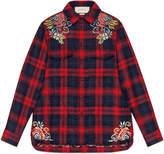 Gucci Dragon embroidered tartan shirt