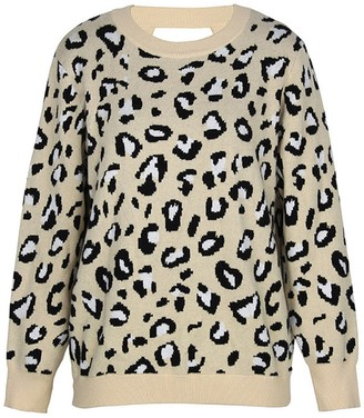 Goodnight Macaroon 'Nadia' Leopard Print Open Back Sweater (4 Colors)