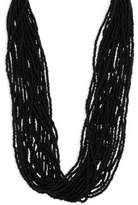 Kenneth Jay Lane Multi-Row Seed Bead Necklace/Black