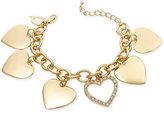 Thalia Sodi Gold-Tone Crystal Heart Charm Bracelet, Only at Macy's