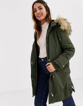 Miss Selfridge longline parka coat in khaki