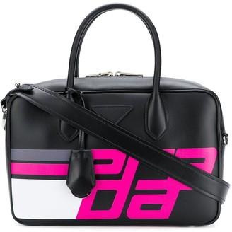 Prada Logo Print Top Handle Bag