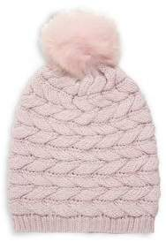 UGG Shearling Pom-Pom Cable-Knit Beanie